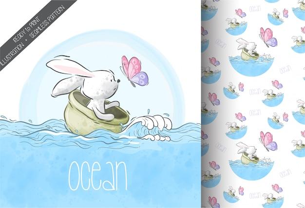 Conejito animal lindo de dibujos animados con mariposa en mar de patrones sin fisuras