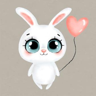Conejito blanco pastel de dibujos animados lindo con un globo de corazón