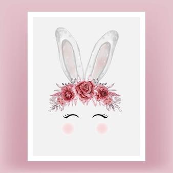 Conejito cabeza acuarela flor rojo granate dibujado a mano ilustración