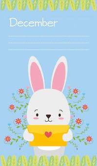 Conejito con carta de amor, animales lindos, estilo plano y de dibujos animados, ilustración