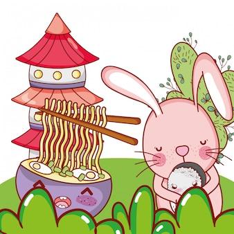 Conejito y comida kawaii.