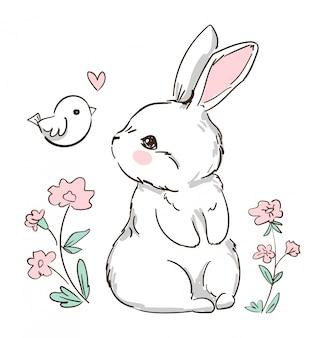 Conejito dibujado a mano y pajarito, flores. lindo conejo diseño de impresión para moda infantil.