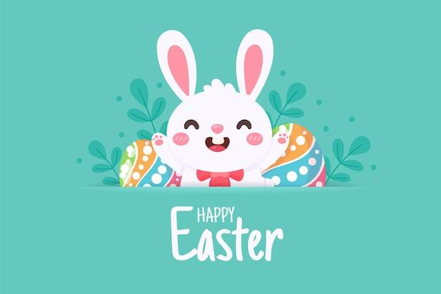 Conejito de dibujos animados con orejas largas saltando alegremente en el prado verde con huevos de pascua en primavera