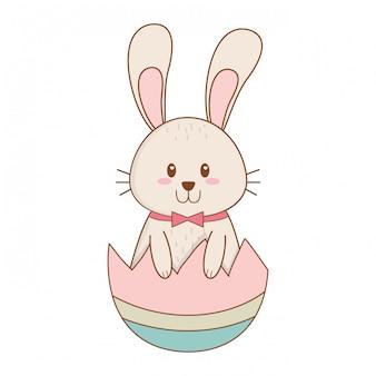 Conejito con huevo roto pintado carácter de pascua