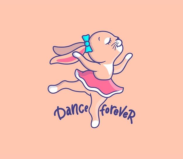 Conejito linda chica bailando. animal de dibujos animados con frase de letras - baila para siempre.