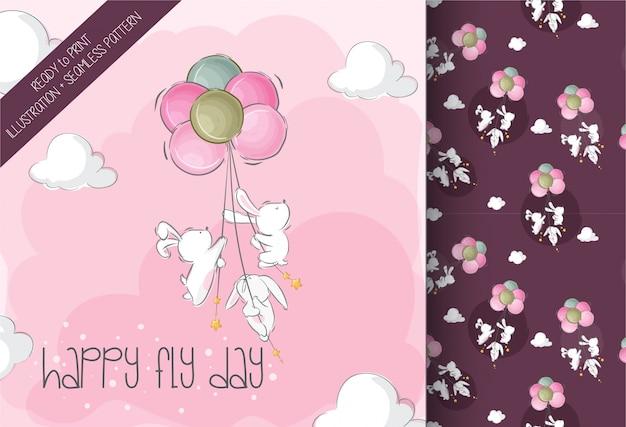 Conejito lindo bebé volando con globo de aire lindo animal de patrones sin fisuras