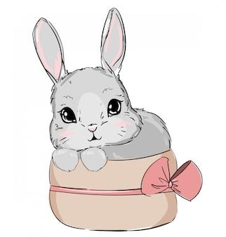 Conejito lindo dibujado a mano, diseño de conejo de impresión, impresión de niños en camiseta.