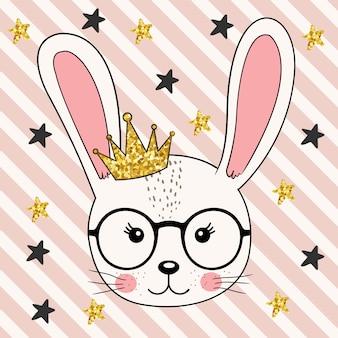 Conejito lindo princesa niña con corona