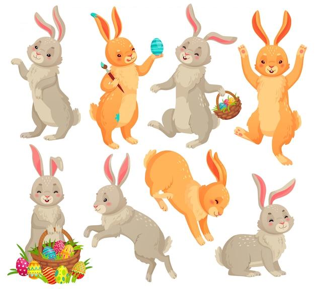 Conejito de pascua, conejo saltando, bailando conejitos divertidos animales y conejos conjunto de dibujos animados de huevos de pascua