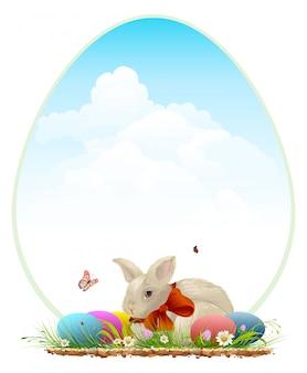 Conejito de pascua y huevos de colores. plantilla de tarjeta de pascua