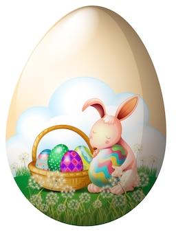 Un conejito de pascua con huevos de pascua