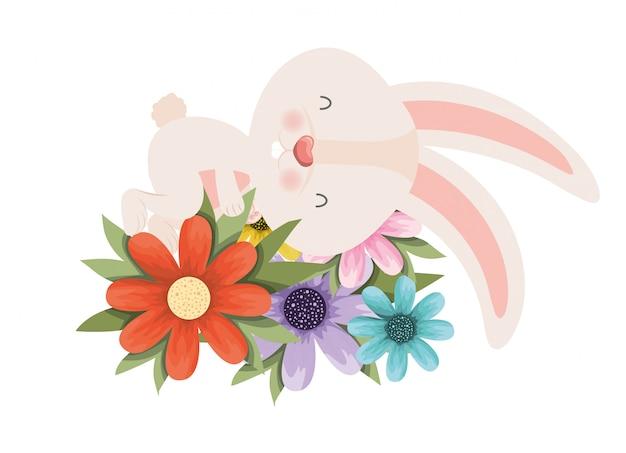 Conejito de pascua con el icono aislado flores