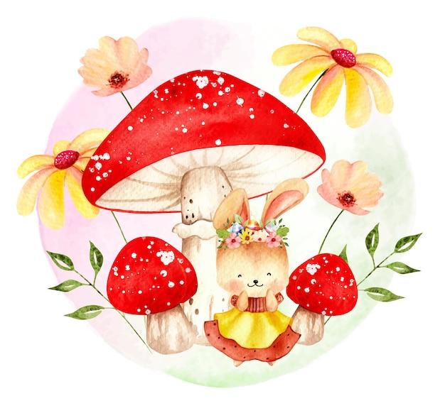 Conejito de primavera acuarela con setas y flores