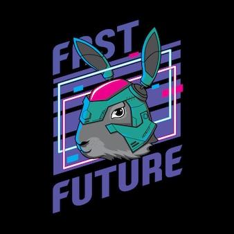 Conejito robot. conejo con casco, ilustración futura, listo para imprimir, camiseta y adhesivo.
