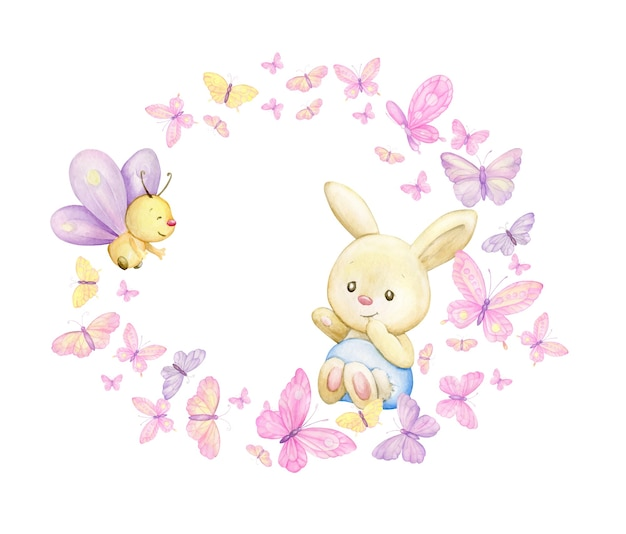 El conejito está rodeado de mariposas y plantas. marco redondo de acuarela sobre un fondo aislado, en estilo de dibujos animados.