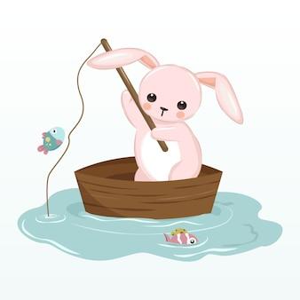 Conejito rosa pescando en el lago ilustración para decoración infantil