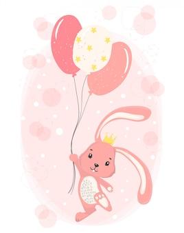 Conejito rosado feliz lindo con la corona que sostiene los globos rosados de la estrella