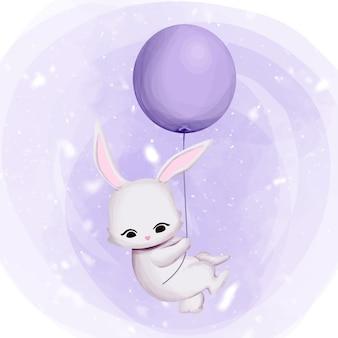 Conejito volando hacia el cielo con globo