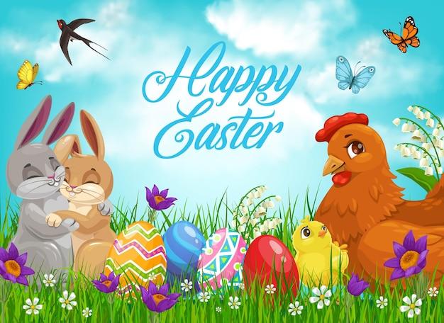 Conejitos de pascua y pollitos con huevos, vacaciones de religión