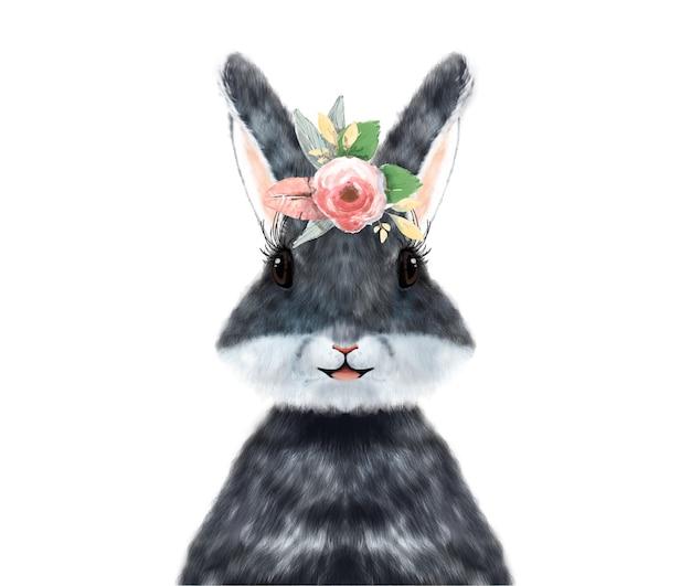 Conejo de acuarela pintado a mano con flores tropicales