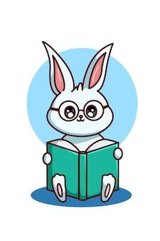 Un conejo de anteojos leyendo un libro.