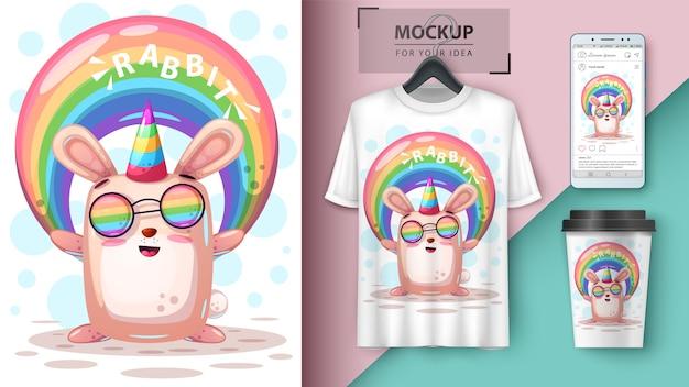 Conejo arco iris unicornio y merchandising.