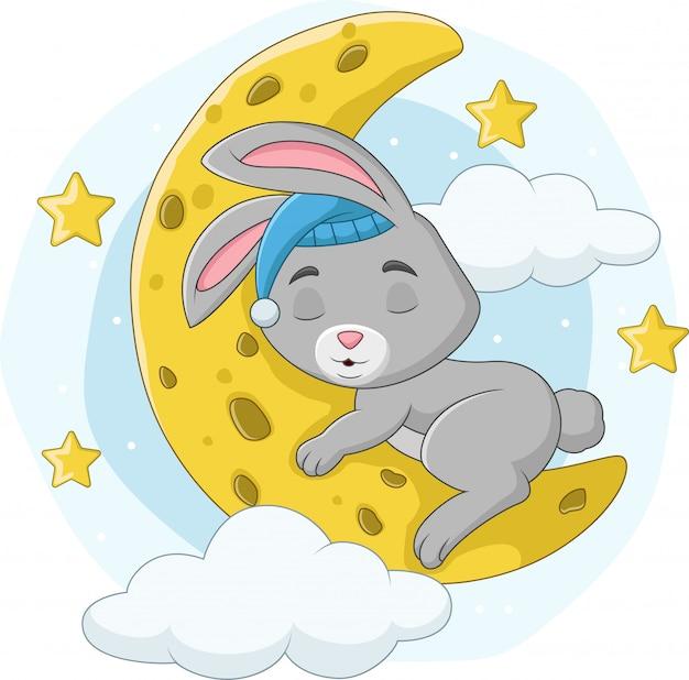 Conejo bebé de dibujos animados durmiendo en la luna