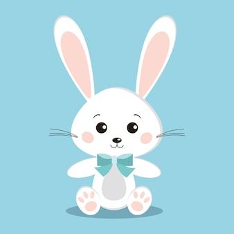 Conejo blanco lindo aislado en pose sentada con pajarita azul sobre fondo azul en estilo plano de dibujos animados.