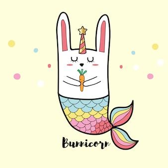 Conejo bunnicorn sirena linda caricatura color pastel