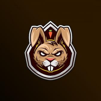 Conejo cabeza esports logo mascota