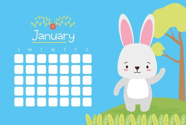 Conejo con calendario, animales lindos, plano y estilo de dibujos animados, ilustración