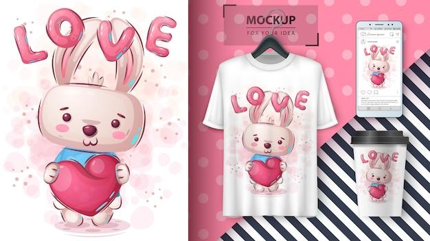 Conejo con cartel de corazón y merchandising
