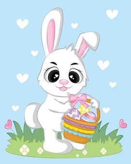 Conejo conejito pascua personaje de dibujos animados lindo con coloridos huevos en la cesta