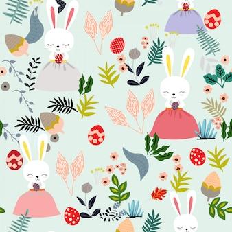 Conejo de conejito en el patrón sin fisuras del día de pascua