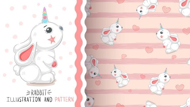 Conejo con corazón - patrón transparente