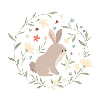 Conejo en una corona de flores