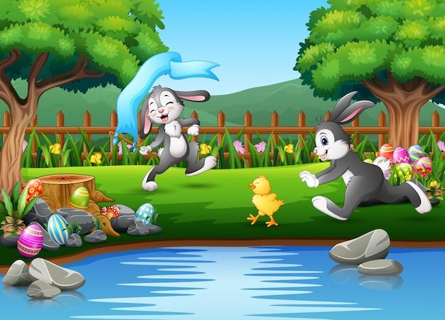 Conejo de dibujos animados corriendo y jugando en la naturaleza