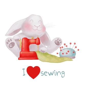 Conejo de dibujos animados lindo con la máquina de coser