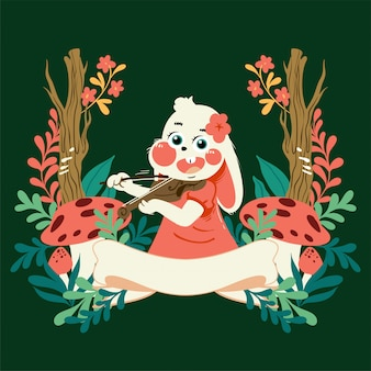 Conejo de dibujos animados lindo vector handdrawn con marco floral tocando el violín