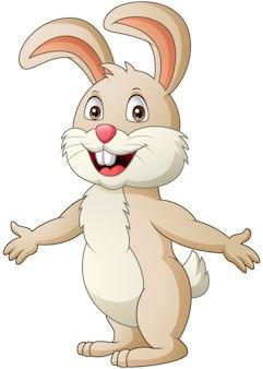 Conejo de dibujos animados saludando. ilustración