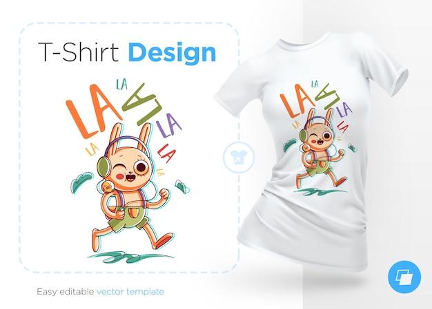 Conejo divertido escuchando música y cantando ilustración y diseño de camiseta