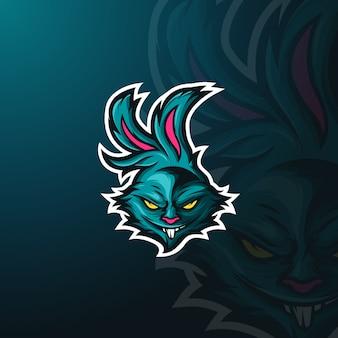 Conejo enojado mascota logo e-sport