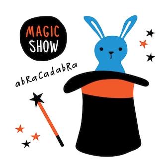 Conejo, equipo de mago, sombrero de copa, varita mágica, actuación ilusionista.