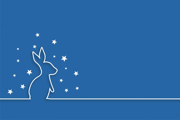 Conejo con estrellas en diseño de estilo de línea