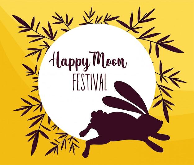 Conejo feliz festival de la luna