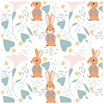 Conejo feliz y patrón de flor de la gloria de mañana