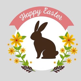 Conejo con flores plantas y ramas hojas