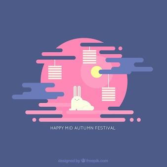 Conejo con fondo rosa para el festival del medio otoño