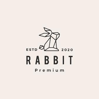 Conejo geométrico liebre conejito vintage logo