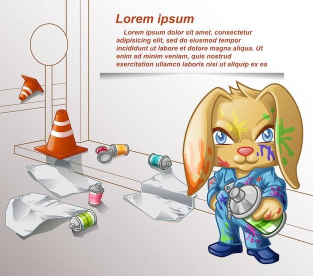 Conejo de graffiti y equipos de pintura.